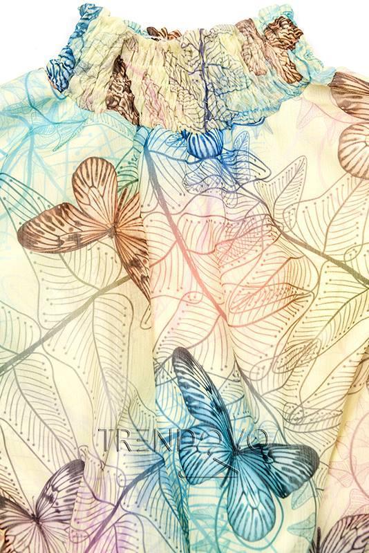22c7875cd8a6 Svetložlté minišaty s potlačou motýľov - Dámske oblečenie