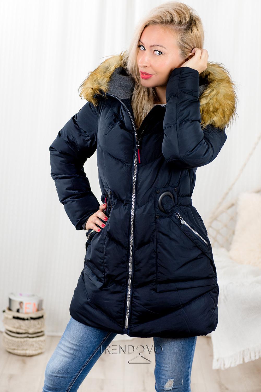 127b60c56 Tmavomodrá zimná predĺžená bunda - Dámske oblečenie