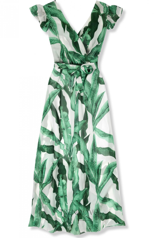c37f6d23c3ab Zeleno-biele letné maxi šaty - Dámske oblečenie