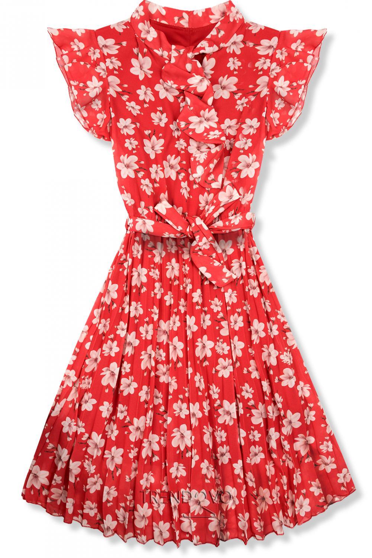 3ceb6a7d615b Červené letné kvetinové šaty - Dámske oblečenie