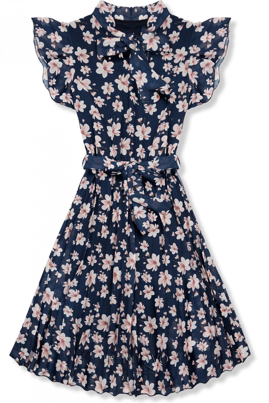 5a027069adf7 Tmavomodré letné kvetinové šaty - Dámske oblečenie