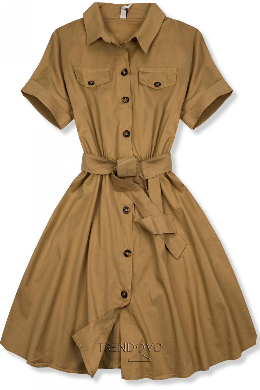 d6eea1de2e Hnedé krátke košeľové šaty - Dámske oblečenie