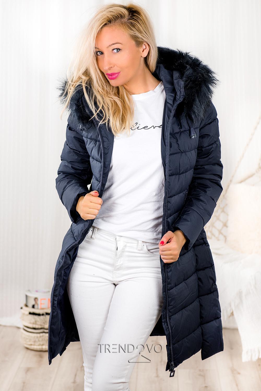 2b2a29908 Tmavomodrá predĺžená zimná bunda - Dámske oblečenie