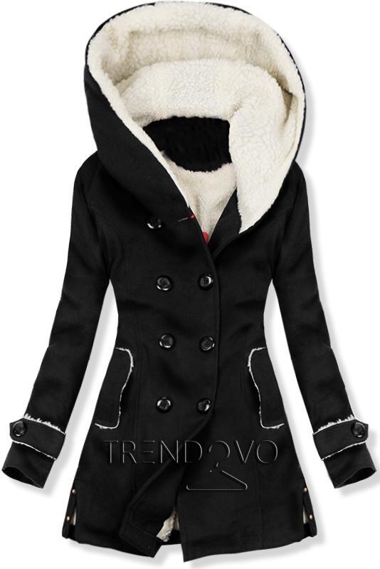 Čierny zimný kabát s kožušinovou podšívkou - Dámske oblečenie 2121ca691df