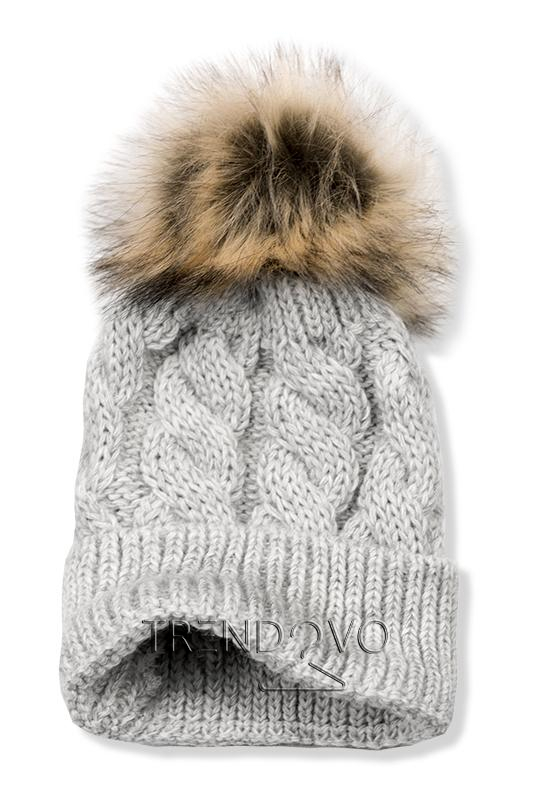 d0549005b Sivá čiapka s brmbolcom - Dámske oblečenie