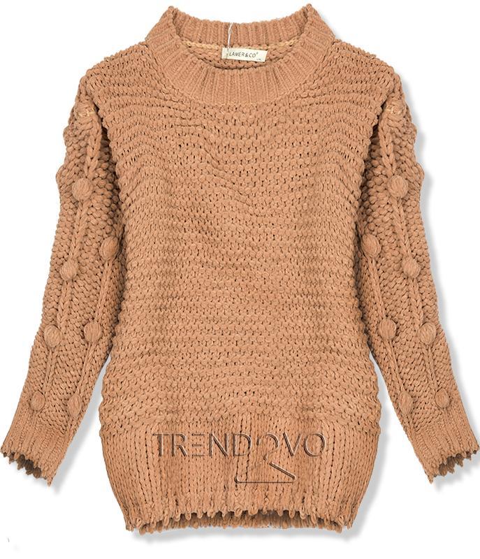fb3e6ecb9bf9 Hnedý sveter s brmbolcami - Dámske oblečenie