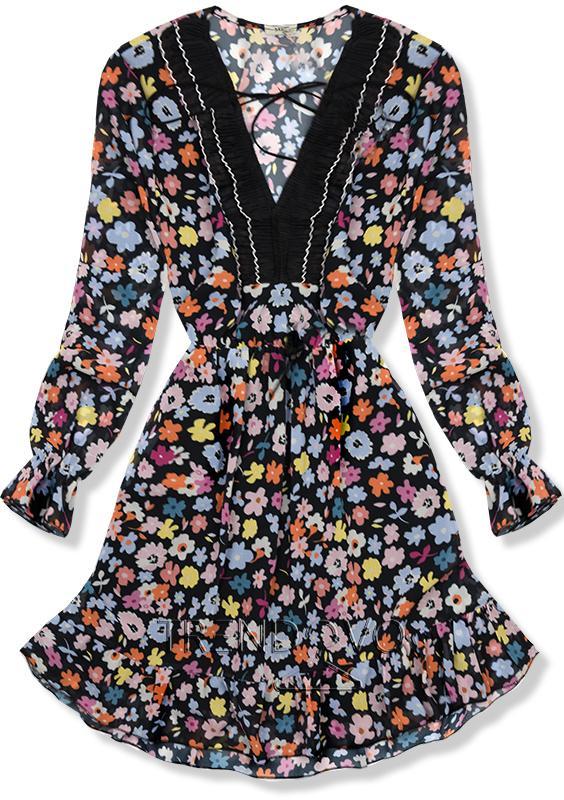 0ecf8cbf4203 Čierno-žlté kvetinové šaty - Dámske oblečenie