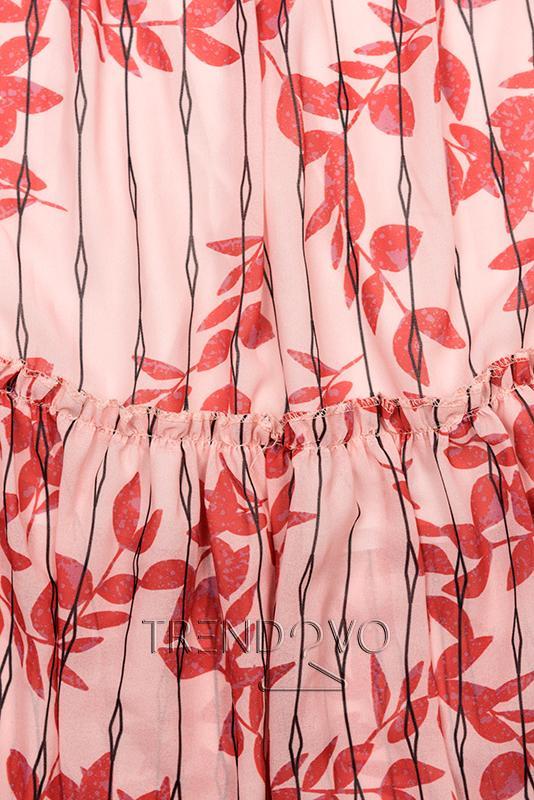 2118b4826aa6 Midi šaty s motívom listov červená ružová - Dámske oblečenie
