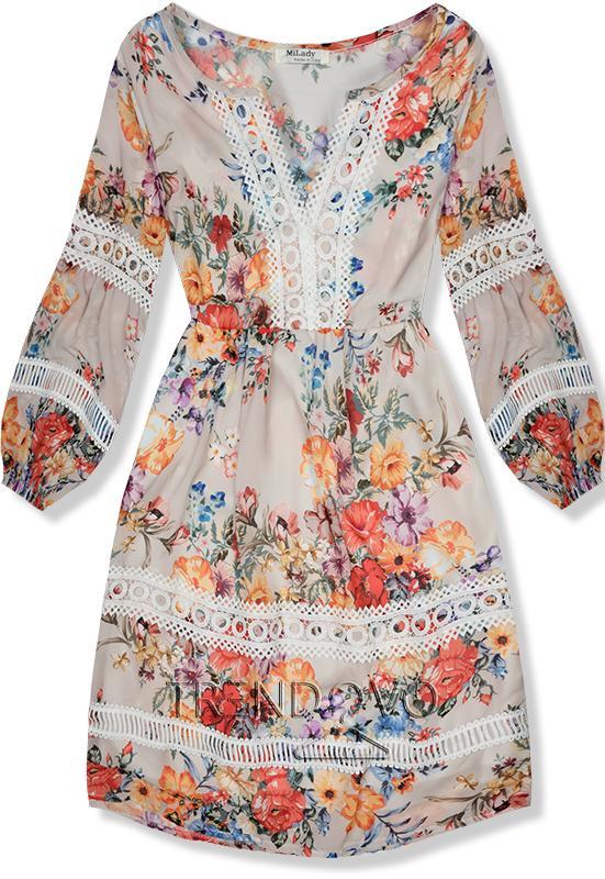49cb847dfc4f Béžové ľahké letné šaty s čipkou - Dámske oblečenie