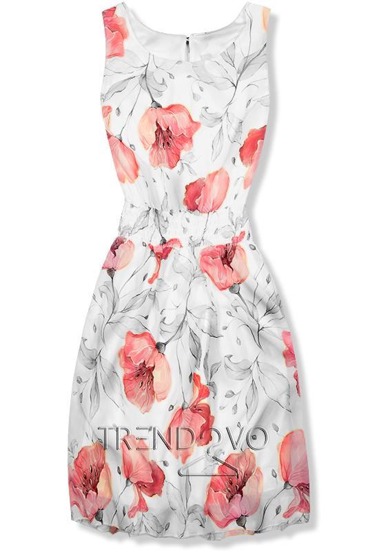 c962ca05c442 Biele elegantné šaty s kvetinovým vzorom - Dámske oblečenie