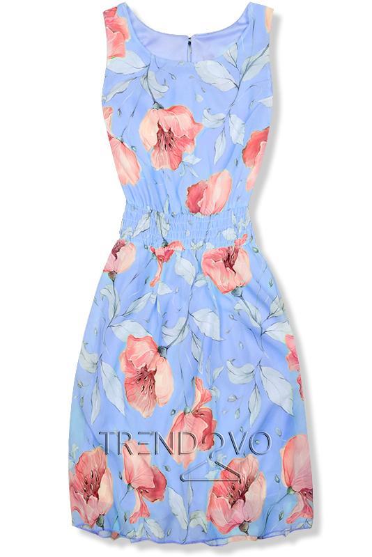 82affe74230b Svetlomodré elegantné šaty s kvetinovým vzorom - Dámske oblečenie
