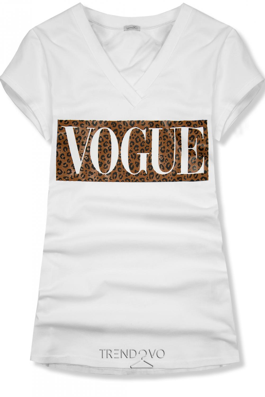 c066bd249b1f Biele tričko s nápisom VOGUE - Dámske oblečenie
