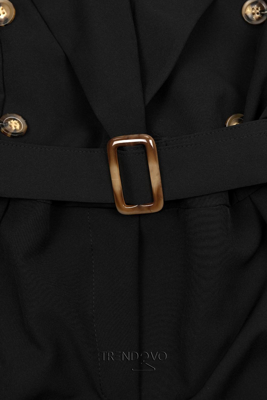 c5e92cde01c3 Čierny elegantný overal s opaskom - Dámske oblečenie