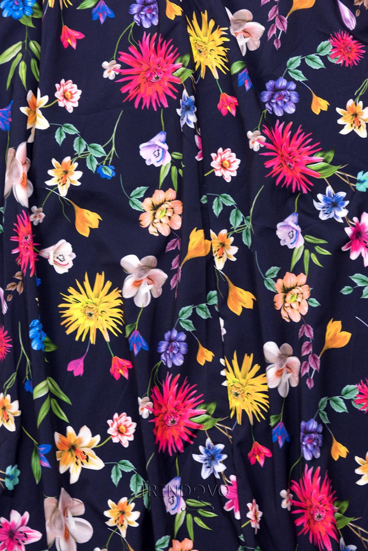 22611aa32fed Tmavomodré maxi kvetinové farebné šaty - Dámske oblečenie