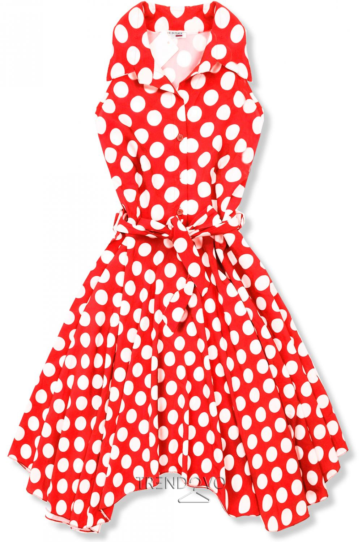 e7669658f0725 Červeno-biele retro bodkované šaty - Dámske oblečenie