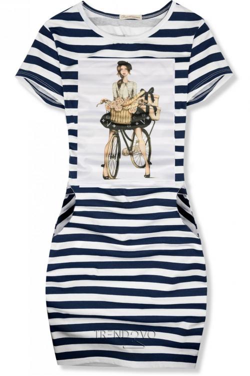 d9e79e6c8686 Modro-biele pruhované šaty FRENCH GIRL X. - Dámske oblečenie