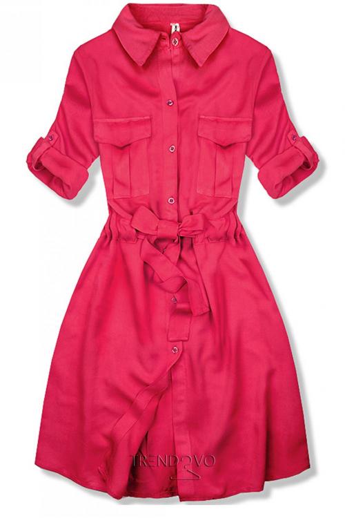 faed5a13407d -19% Ružové košeľové šaty