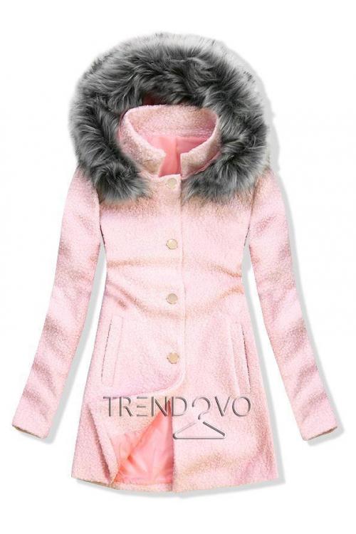 -28% Vlnený jesenný kabát 1950 ružová tmavosivá 60452c42599