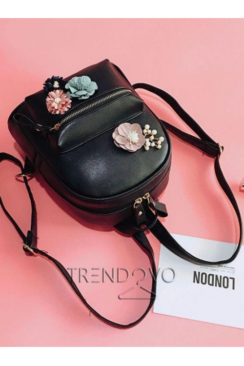 4ff9d12643 Dámsky čierny batoh s kvetmi