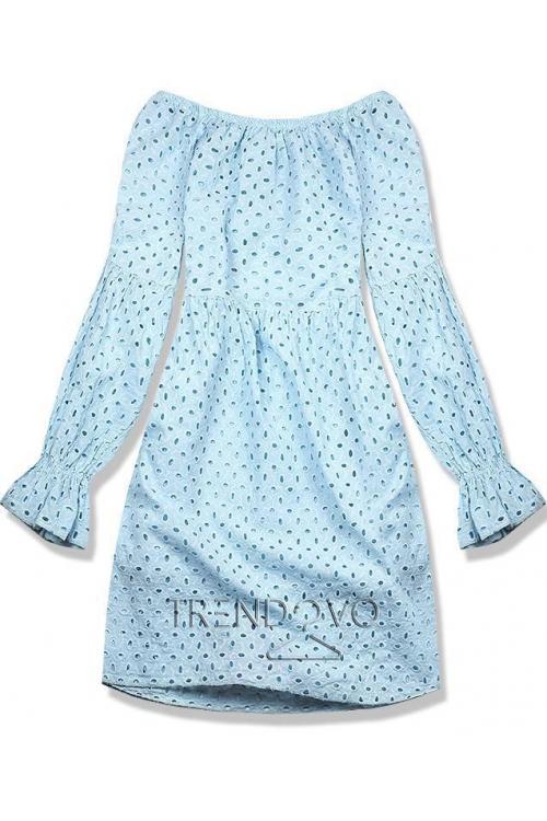 Baby blue šaty z dierovaného materiálu