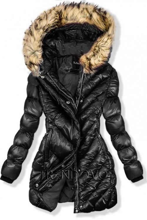 Čierna zimná lesklá bunda