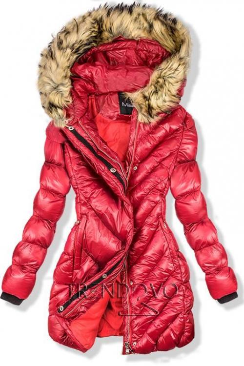 Červená zimná lesklá bunda