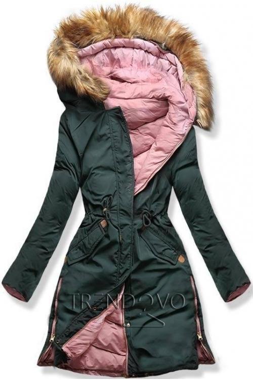Zeleno/ružová obojstranná zimná bunda