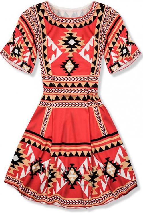e980459935c0 Červené vzorované šaty FOLK II