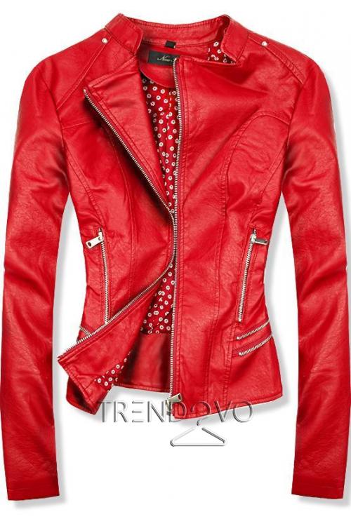 2a2831bfac -11% Červená koženková bunda s kvetinovou podšívkou