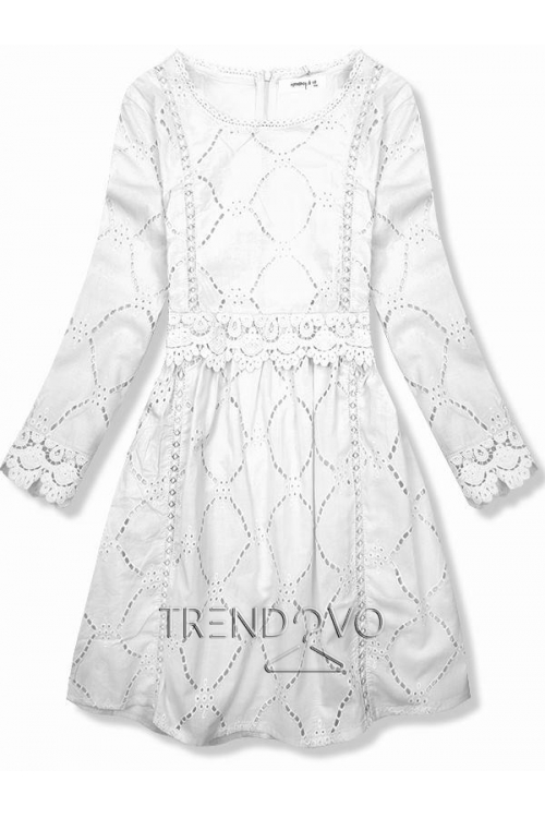 78c0aea5f613 Biele šaty s čipkou a výšivkou