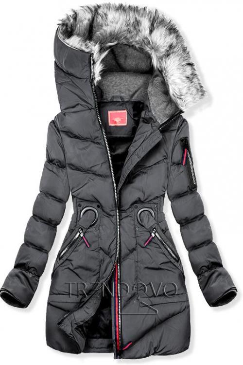 Bordová zimná predĺžená bunda - Dámske oblečenie 6818ad64562