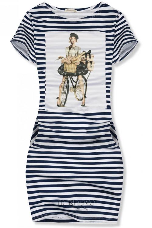 9a4a21921f34 -21% Modro-biele pruhované šaty FRENCH GIRL II.