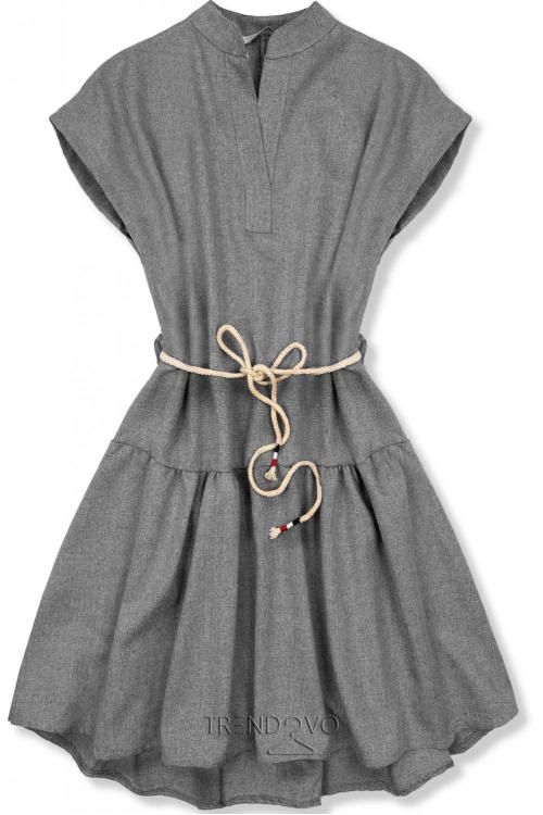 b46048cef3ff Sivé šaty v basic štýle