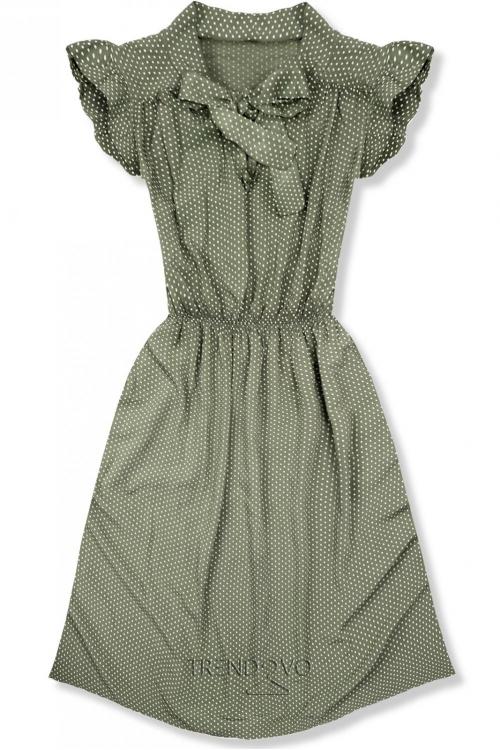 ebf4e0f52b2b Khaki retro bodkované šaty s mašľou