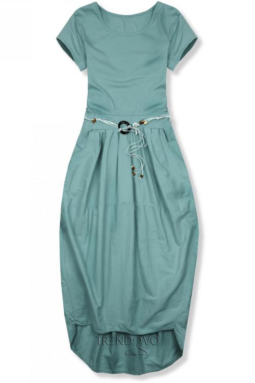 f07a6bbde72c5 Opálovo zelené midi šaty v basic štýle