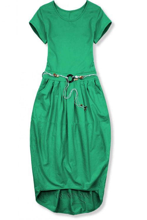 f3d6cc1c69f97 Zelené midi šaty v basic štýle