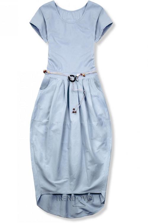 96c81c0348229 Pastelovo modré midi šaty v basic štýle