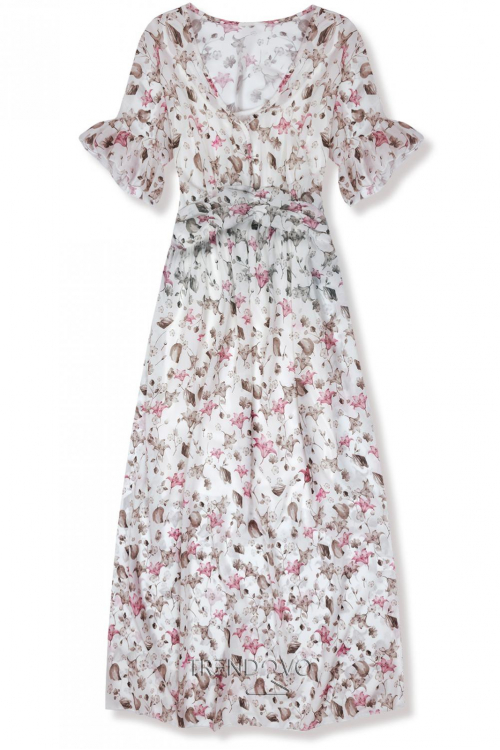 1c6c6a81cfb9 Biele maxi šaty s kvetinami Lussy