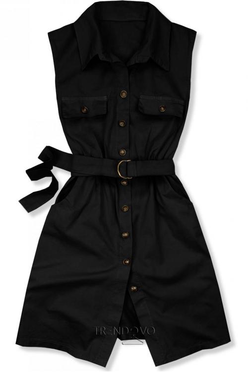 beb711794c66 Čierne šaty s opaskom
