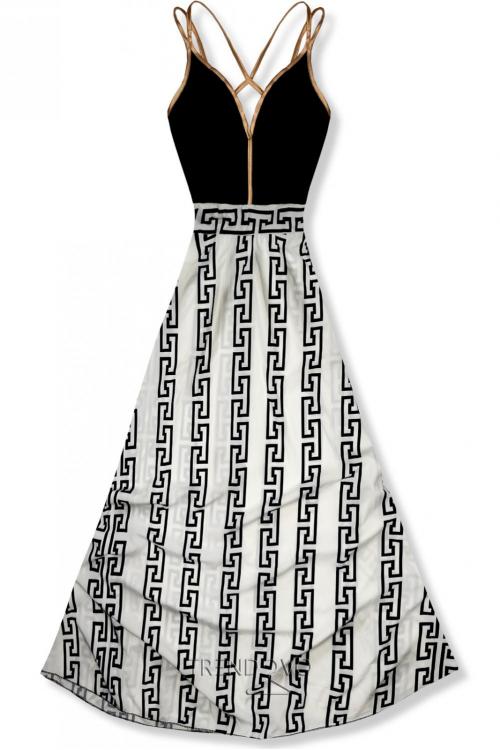 30b653bbc2de Čierno-biele dlhé elegantné šaty so vzorom