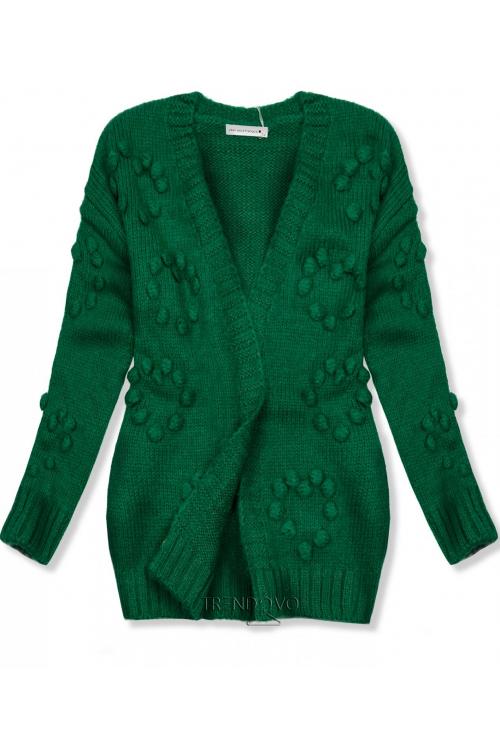 760c959259ae Zelený pletený sveter s brmbolcami