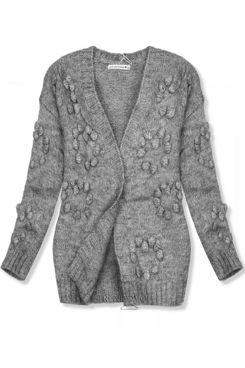 ed61bfe59600 Sivý pletený sveter s brmbolcami