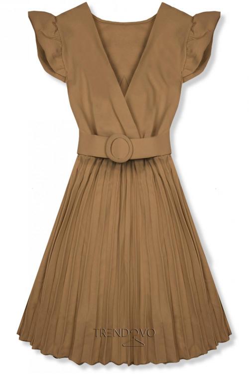 371ec34bdca2 Hnedé šaty so skladanou sukňou
