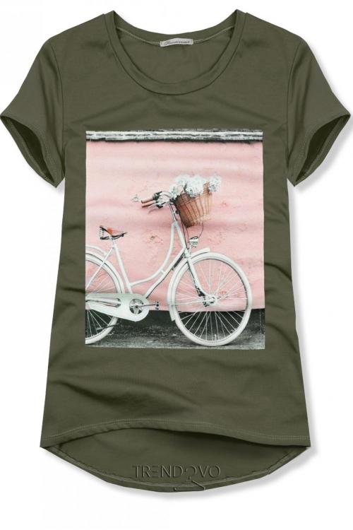 957681258edc Khaki tričko s motívom