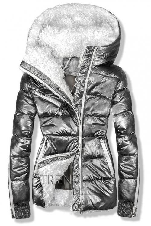 Strieborná metalická zimná bunda