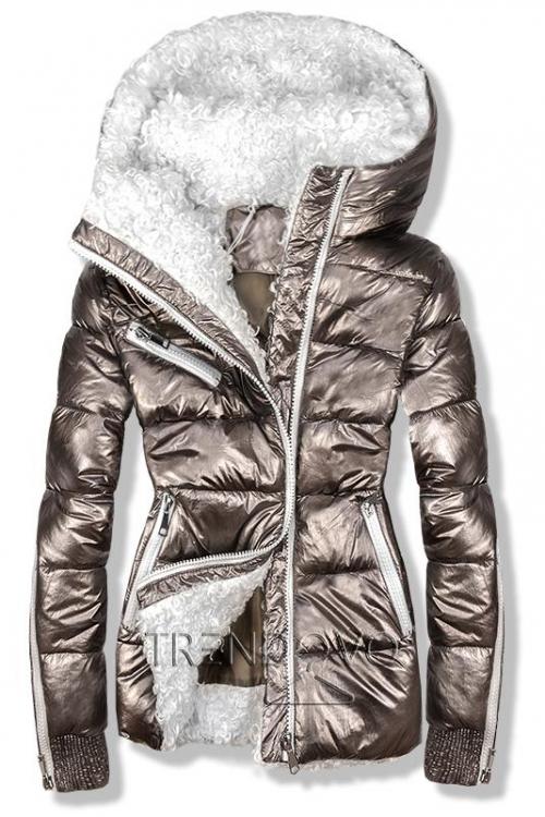 Hnedá metalická zimná bunda