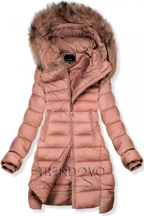 Ružová predĺžená zimná bunda