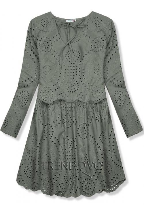 Khaki šaty z dierovaného materiálu