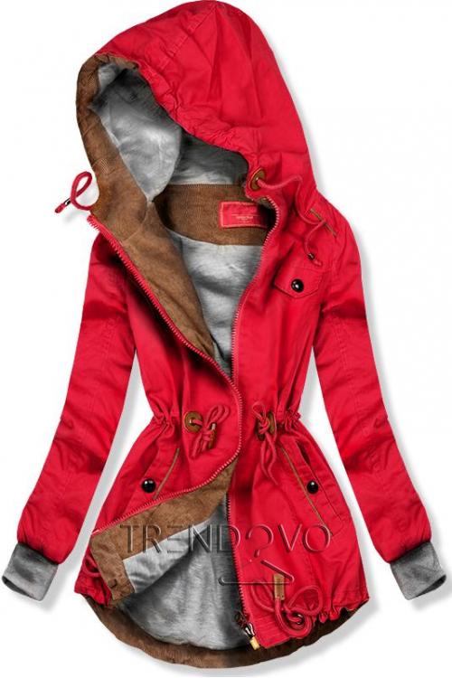 Červená jarná parka s kapucňou