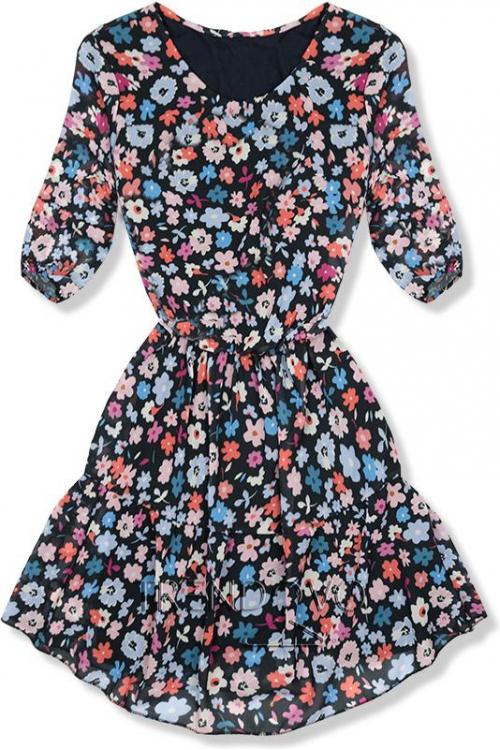 17890d51c5c6 -23% Čierno-modré kvetinové šaty